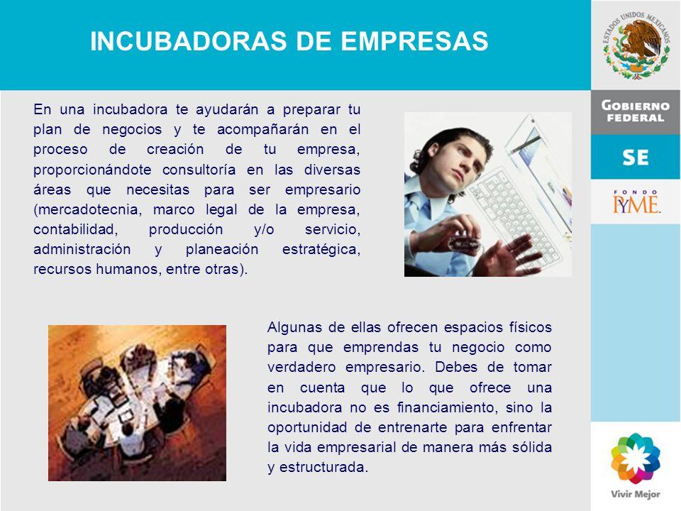 11 de Mayo de 2007Delegación Federal Cuernavaca Algunas de ellas ofrecen espacios físicos para que emprendas tu negocio como verdadero empresario. Deb