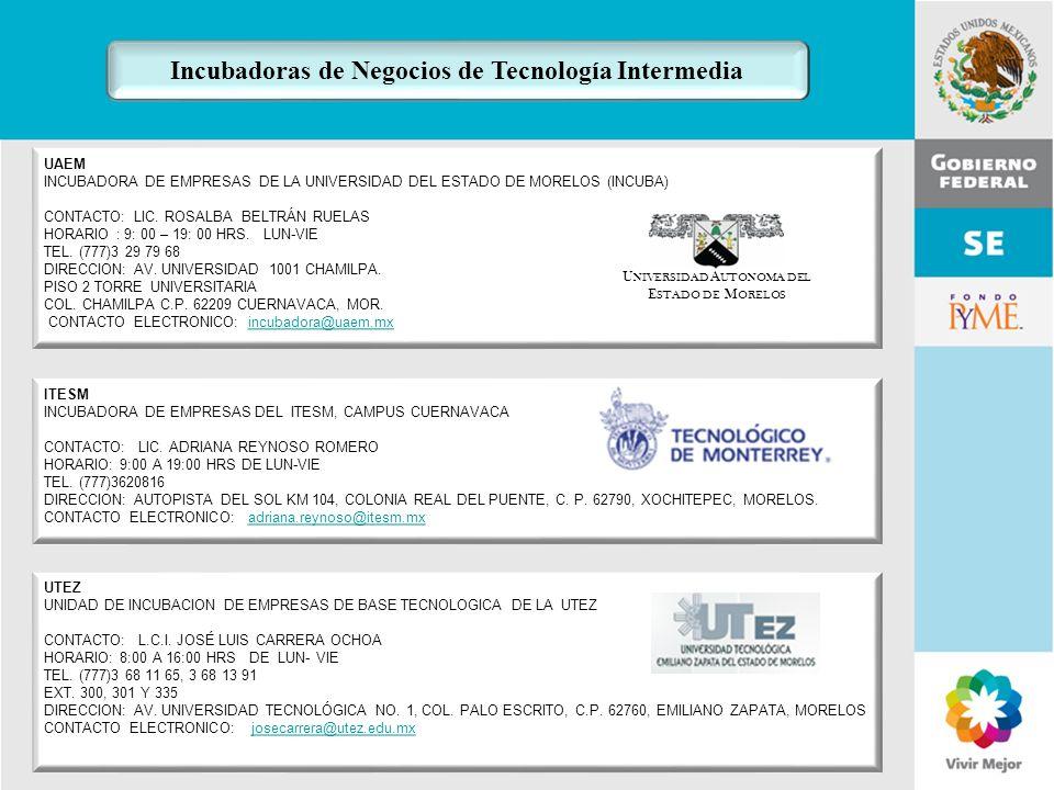 11 de Mayo de 2007Delegación Federal Cuernavaca UAEM INCUBADORA DE EMPRESAS DE LA UNIVERSIDAD DEL ESTADO DE MORELOS (INCUBA) CONTACTO: LIC. ROSALBA BE