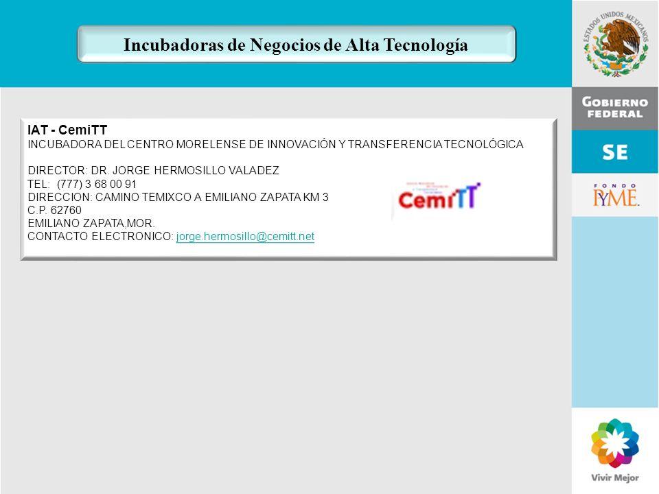 11 de Mayo de 2007Delegación Federal Cuernavaca IAT - CemiTT INCUBADORA DEL CENTRO MORELENSE DE INNOVACIÓN Y TRANSFERENCIA TECNOLÓGICA DIRECTOR: DR. J