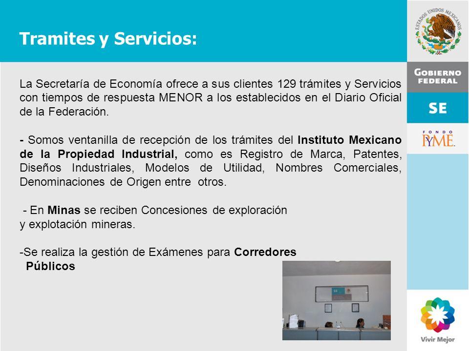 11 de Mayo de 2007Delegación Federal Cuernavaca Tramites y Servicios: La Secretaría de Economía ofrece a sus clientes 129 trámites y Servicios con tie