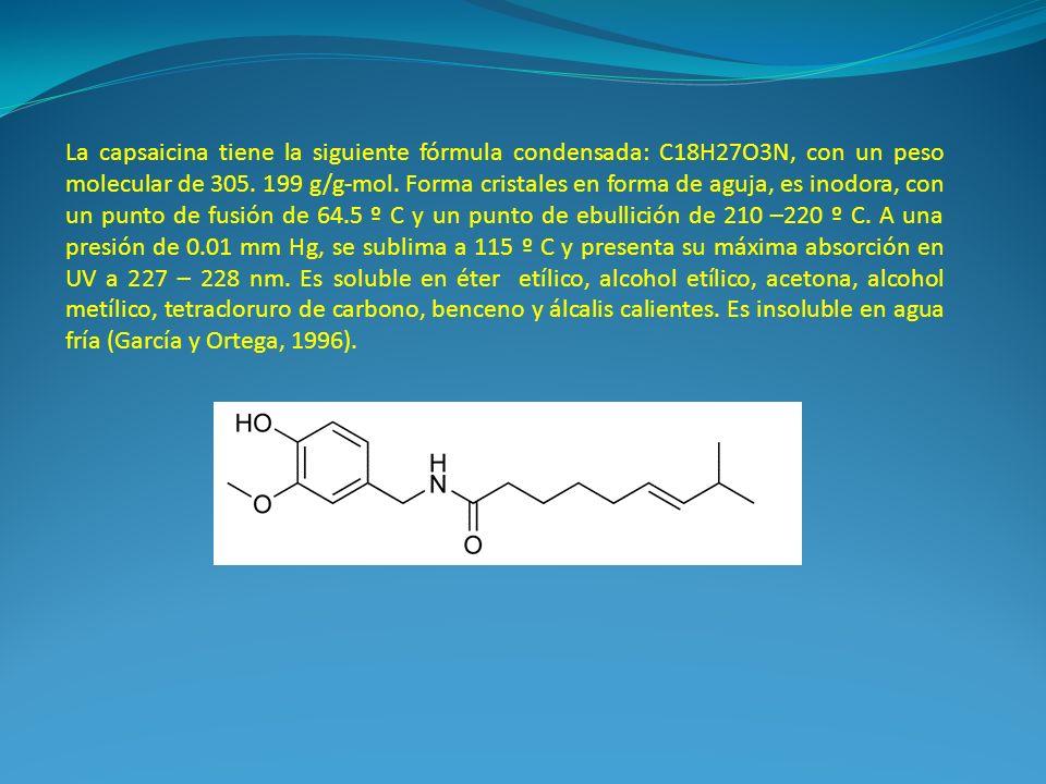 La capsaicina tiene la siguiente fórmula condensada: C18H27O3N, con un peso molecular de 305. 199 g/g-mol. Forma cristales en forma de aguja, es inodo
