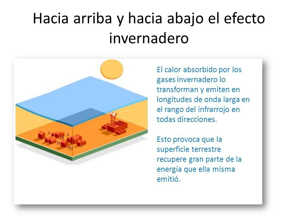 Hacia arriba: La transmisión de calor desde la superficie terrestre se da en tres procesos a)Radiación infrarroja: El flujo de energía absorbido por l