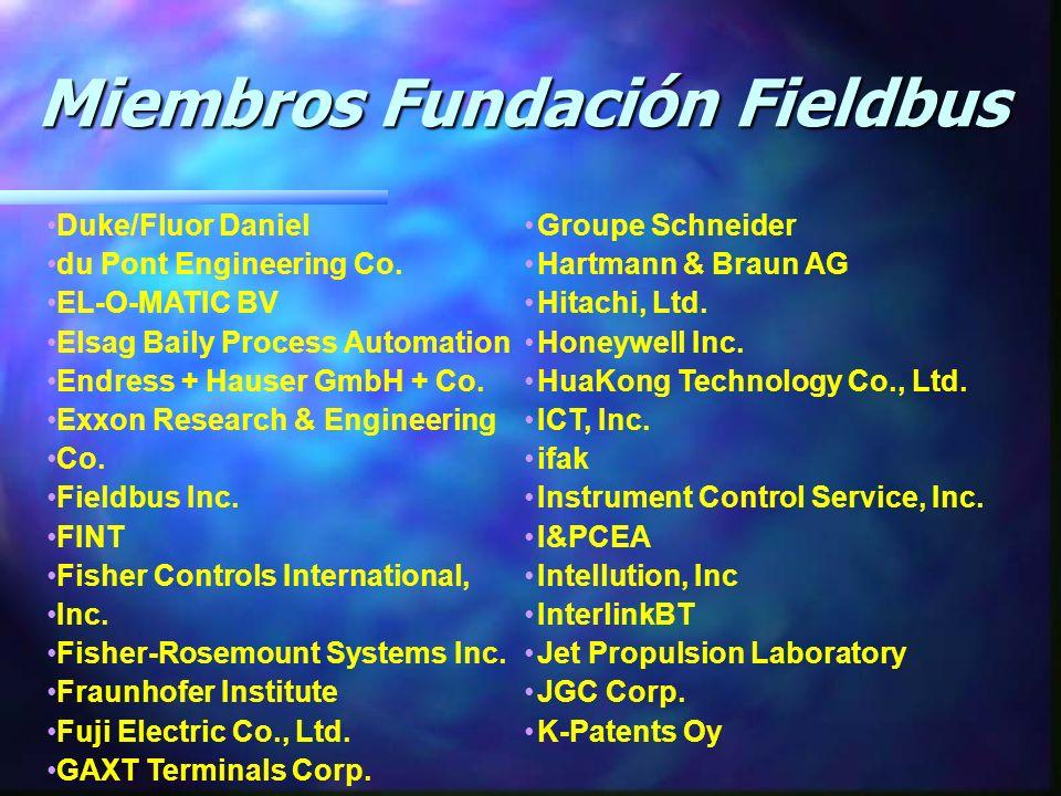 Miembros Fundación Fieldbus Miembros Fundación Fieldbus ABB Industrial Systems Inc. Accutech Advanced Distillatiom Technology Applied Information Scie