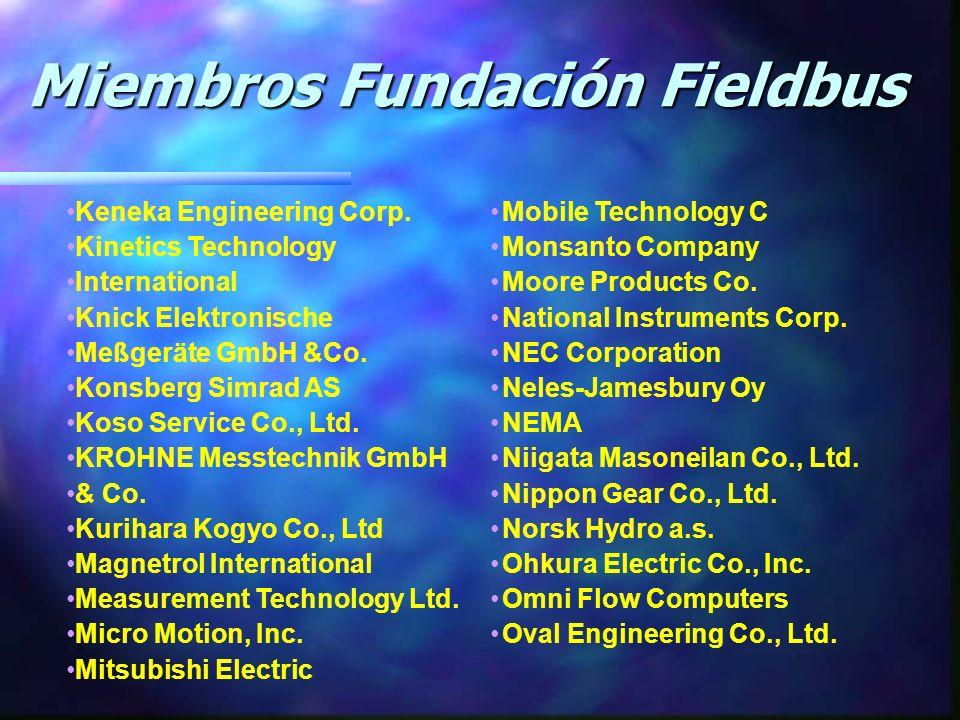Miembros Fundación Fieldbus Miembros Fundación Fieldbus Duke/Fluor Daniel du Pont Engineering Co. EL-O-MATIC BV Elsag Baily Process Automation Endress