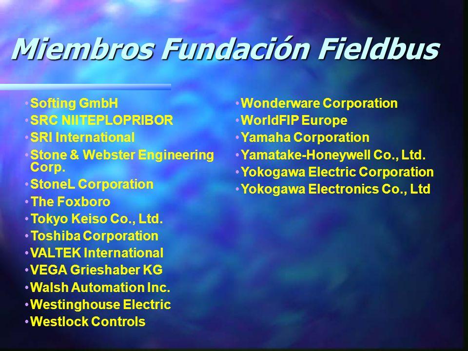 Miembros Fundación Fieldbus Miembros Fundación Fieldbus Softing GmbH SRC NIITEPLOPRIBOR SRI International Stone & Webster Engineering Corp.