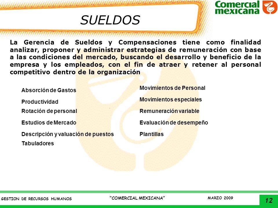 12 GESTION DE RECURSOS HUMANOS COMERCIAL MEXICANA MARZO 2009 SUELDOS La Gerencia de Sueldos y Compensaciones tiene como finalidad analizar, proponer y