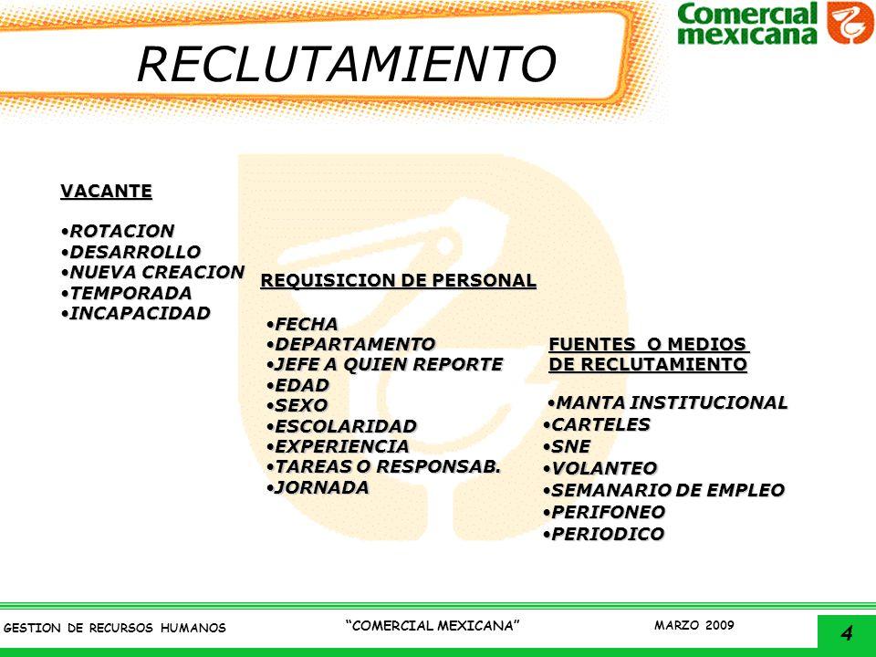5 GESTION DE RECURSOS HUMANOS COMERCIAL MEXICANA MARZO 2009 SELECCION ENTREVISTA CONOCIMIENTOSACTITUDESHABILIDADESINTELIGENCIA RELACIONES INTERPERSONALES PRACTICIDADMEMORIA TRABAJO BAJO PRESION INICIATIVA TRABAJO EN EQUIPO HISTORIA LABORAL HISTORIA ESCOLAR HISTORIA FAMILIAR SALUD ATMOSFERAATMOSFERA RAPPORTRAPPORT CIMACIMA INFORMACIONINFORMACION SOBRE PUESTO VACANTE SOBRE PUESTO VACANTE CIERRECIERRE BARSITBARSIT GORDONGORDON VALORESVALORES SOLICITUDENTREVISTA SUB GERENTE ENTREVISTAJEFEENTREVISTA REC HUM REC HUM EXAMENES AMBIENTE ASPECTOSPRUEBAS