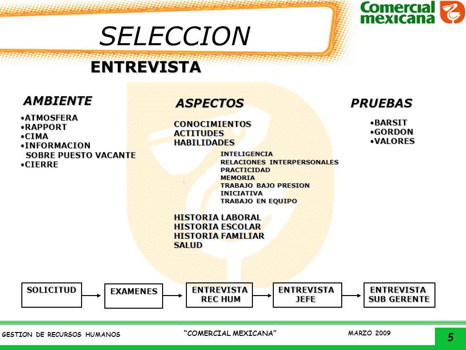 6 GESTION DE RECURSOS HUMANOS COMERCIAL MEXICANA MARZO 2009 CONTRATACION Asegurar que todo el personal que ingrese a Comercial Mexicana entregue y reciba los documentos e informacion necesaria para cumplir con los requisitos legales y administrativos que marca la Ley Federal del Trabajo y/o Reglamento interior de trabajo ENTREGA DE DOCMUENTOS a)Acta de nacimiento b)Certificado de estudios c)Comprobante del IMSS d)2 cartas de recomendación e)Comprobante de domicilio f)Examen medico g)4 fotografias tamaño infantil h)CURP i)Credencial de elector PROCESO GENERAL Explicacion del contratoExplicacion del contrato Explicacion de prestaciones (beneficios y compromisos).Explicacion de prestaciones (beneficios y compromisos).