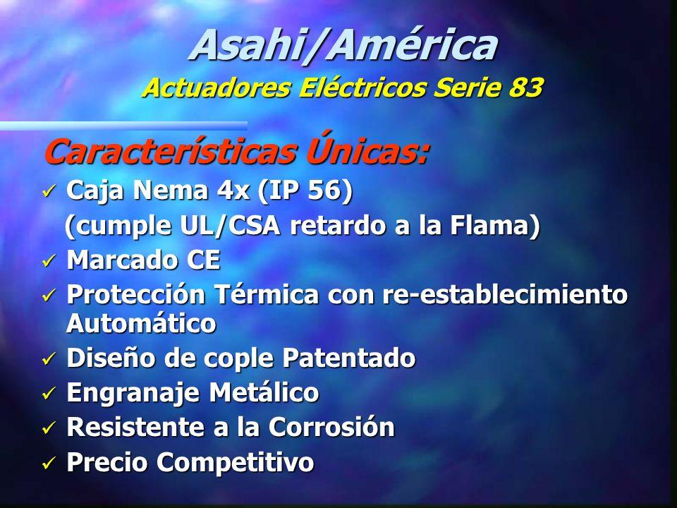 Opciones : n Interruptores de Límite Adicionales n Varios Voltajes: 220 & 200 Vca 220 & 200 Vca 12 & 24 Vca ó Vcd 12 & 24 Vca ó Vcd n Control con Dos Cables: (Aplicaciones de Retroalimentación a Válvula Solenoide) (Aplicaciones de Retroalimentación a Válvula Solenoide) n Luces Indicadoras de Posición Asahi/América Actuadores Eléctricos Serie 83