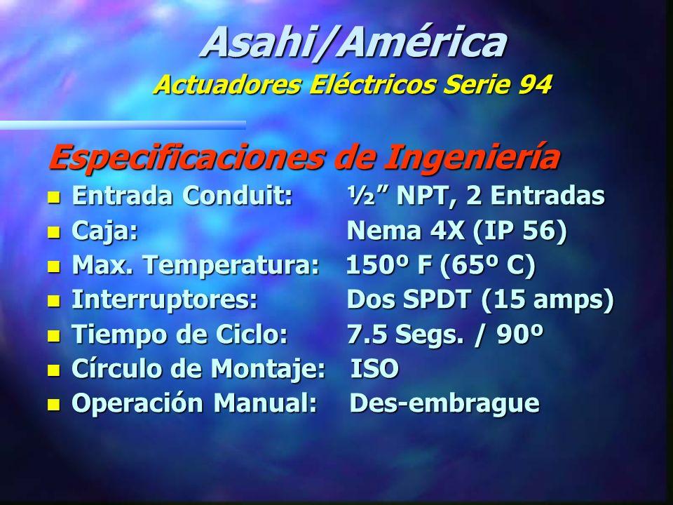 Especificaciones de Ingeniería : n Modelos:A94, B94 n Torque: 150-300 in-lbs.