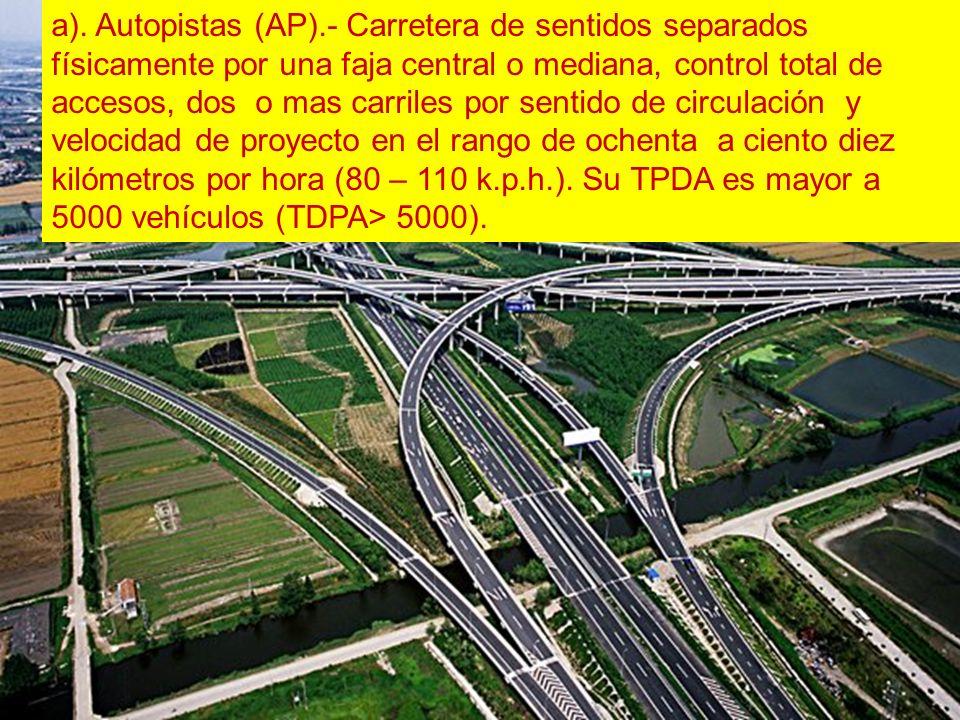 a). Autopistas (AP).- Carretera de sentidos separados físicamente por una faja central o mediana, control total de accesos, dos o mas carriles por sen