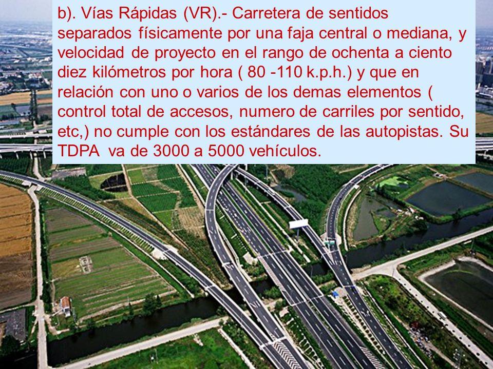 b). Vías Rápidas (VR).- Carretera de sentidos separados físicamente por una faja central o mediana, y velocidad de proyecto en el rango de ochenta a c