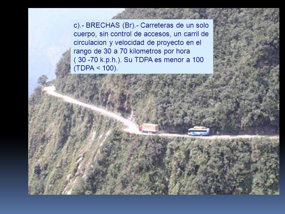 c).- BRECHAS (Br).- Carreteras de un solo cuerpo, sin control de accesos, un carril de circulacion y velocidad de proyecto en el rango de 30 a 70 kilo
