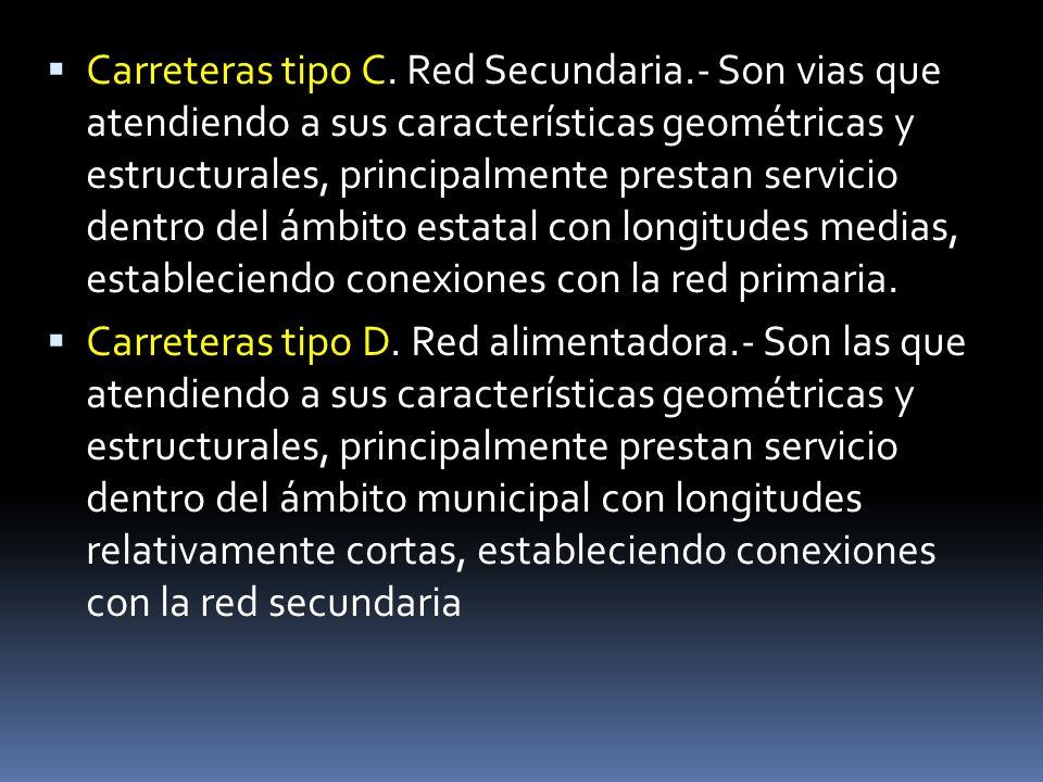 Carreteras tipo C. Red Secundaria.- Son vias que atendiendo a sus características geométricas y estructurales, principalmente prestan servicio dentro
