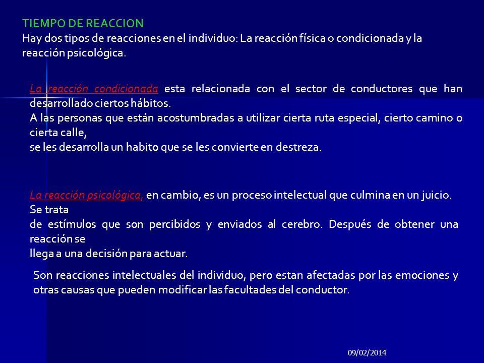 TIEMPO DE REACCION Hay dos tipos de reacciones en el individuo: La reacción física o condicionada y la reacción psicológica. La reacción condicionada
