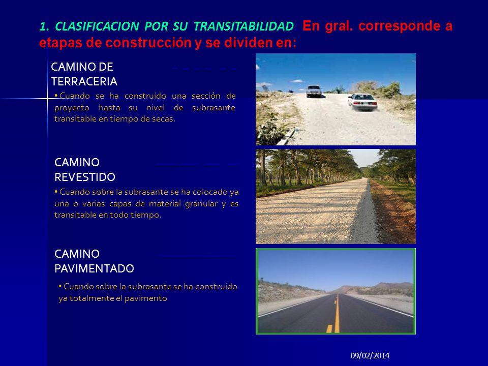 1. CLASIFICACION POR SU TRANSITABILIDAD: En gral. corresponde a etapas de construcción y se dividen en: CAMINO REVESTIDO CAMINO DE TERRACERIA CAMINO P