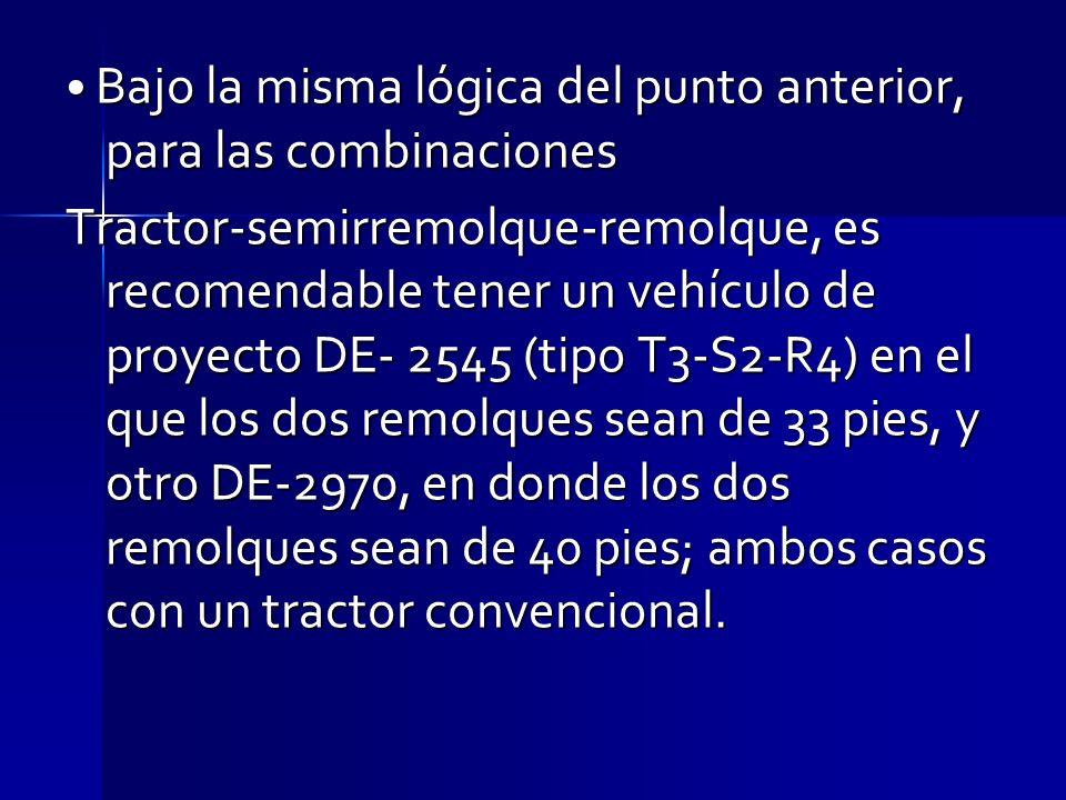Bajo la misma lógica del punto anterior, para las combinaciones Bajo la misma lógica del punto anterior, para las combinaciones Tractor-semirremolque-