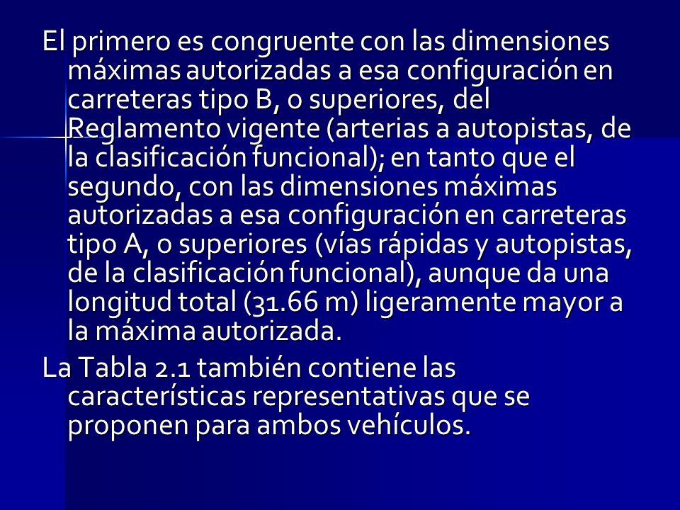 El primero es congruente con las dimensiones máximas autorizadas a esa configuración en carreteras tipo B, o superiores, del Reglamento vigente (arter