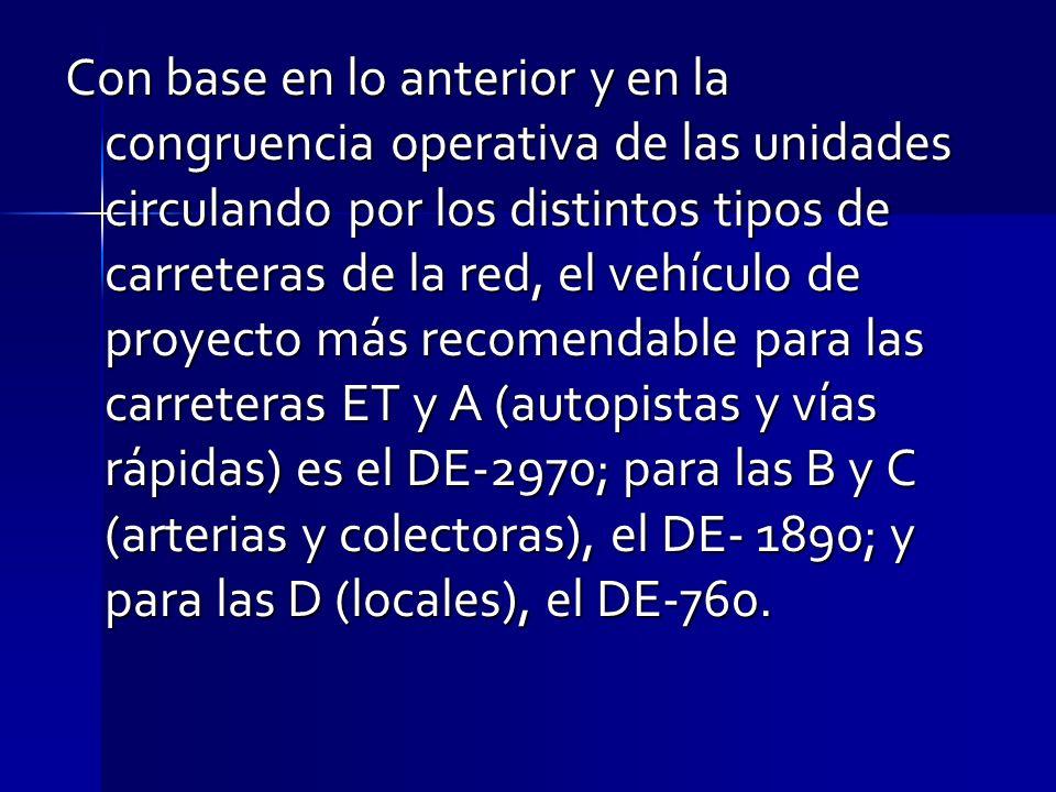 Con base en lo anterior y en la congruencia operativa de las unidades circulando por los distintos tipos de carreteras de la red, el vehículo de proye