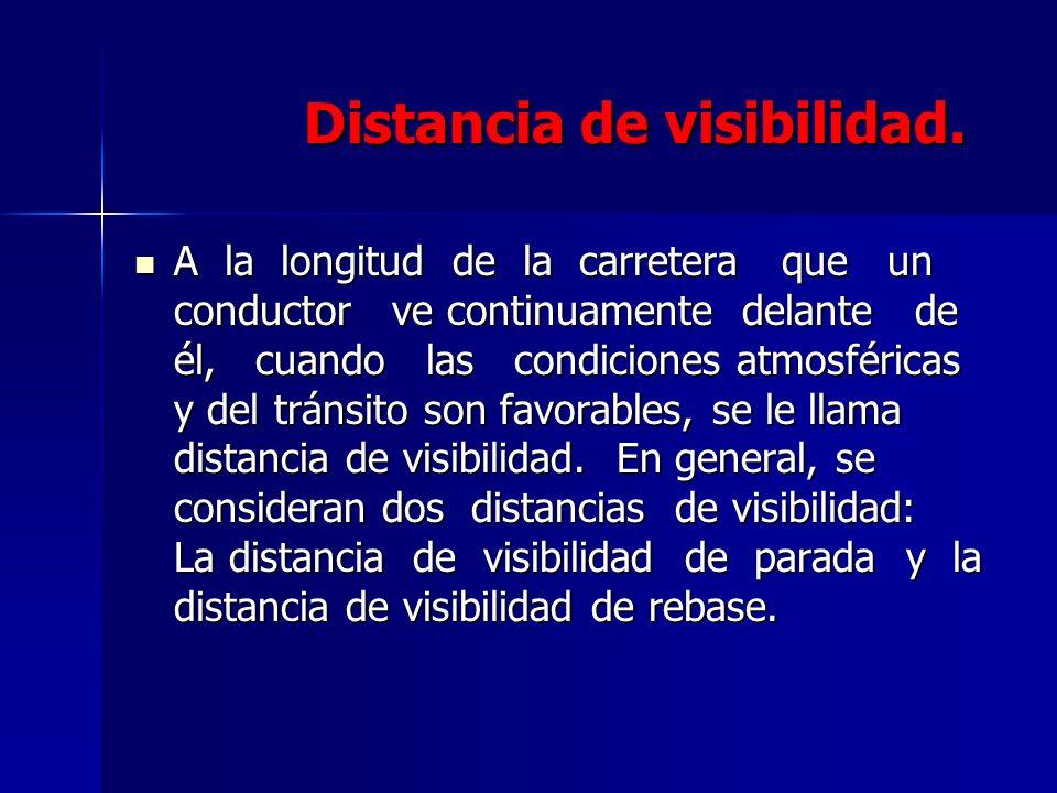 Distancia de visibilidad. Distancia de visibilidad. A la longitud de la carretera que un conductor ve continuamente delante de él, cuando las condicio