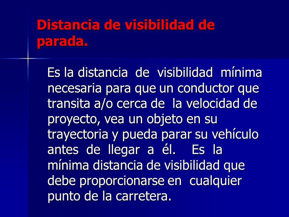Distancia de visibilidad de parada. Es la distancia de visibilidad mínima necesaria para que un conductor que transita a/o cerca de la velocidad de pr