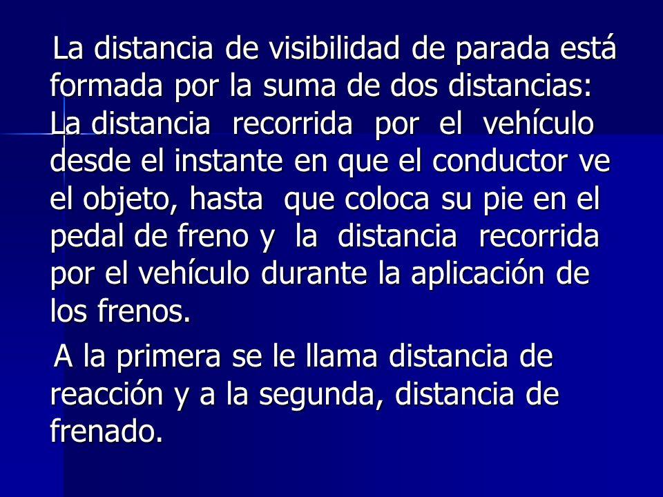 La distancia de visibilidad de parada está formada por la suma de dos distancias: La distancia recorrida por el vehículo desde el instante en que el c