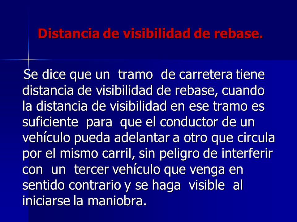Distancia de visibilidad de rebase. Se dice que un tramo de carretera tiene distancia de visibilidad de rebase, cuando la distancia de visibilidad en
