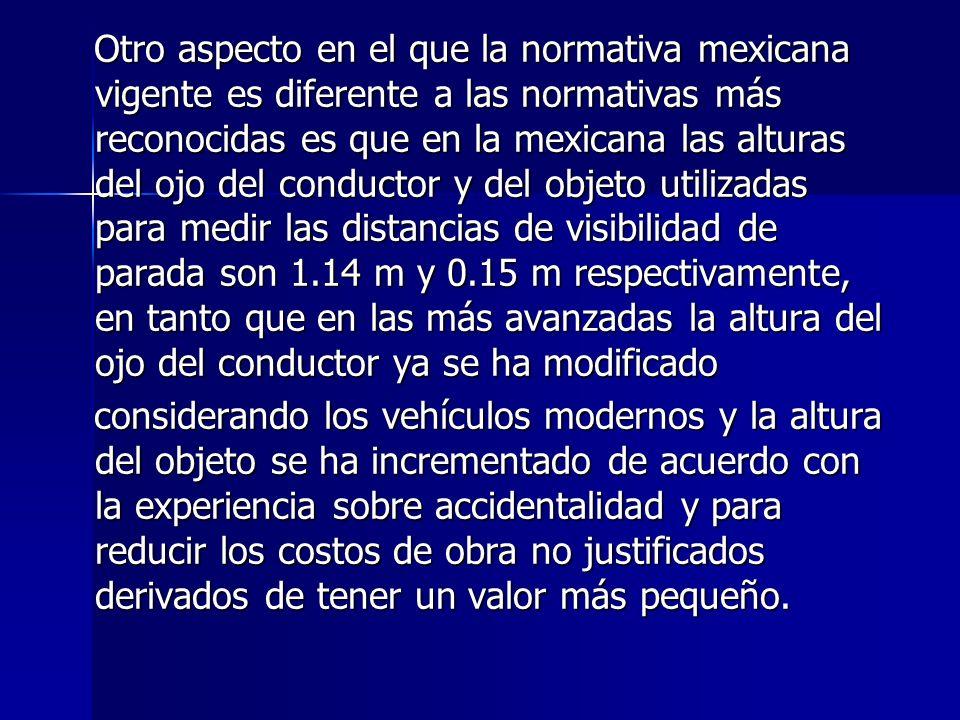 Otro aspecto en el que la normativa mexicana vigente es diferente a las normativas más reconocidas es que en la mexicana las alturas del ojo del condu