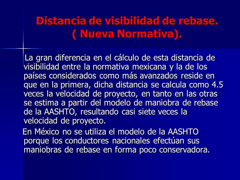 Distancia de visibilidad de rebase. ( Nueva Normativa). La gran diferencia en el cálculo de esta distancia de visibilidad entre la normativa mexicana