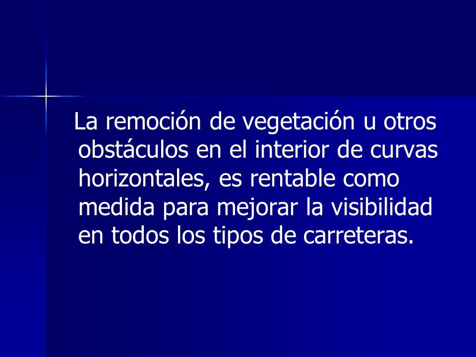 La remoción de vegetación u otros obstáculos en el interior de curvas horizontales, es rentable como medida para mejorar la visibilidad en todos los t