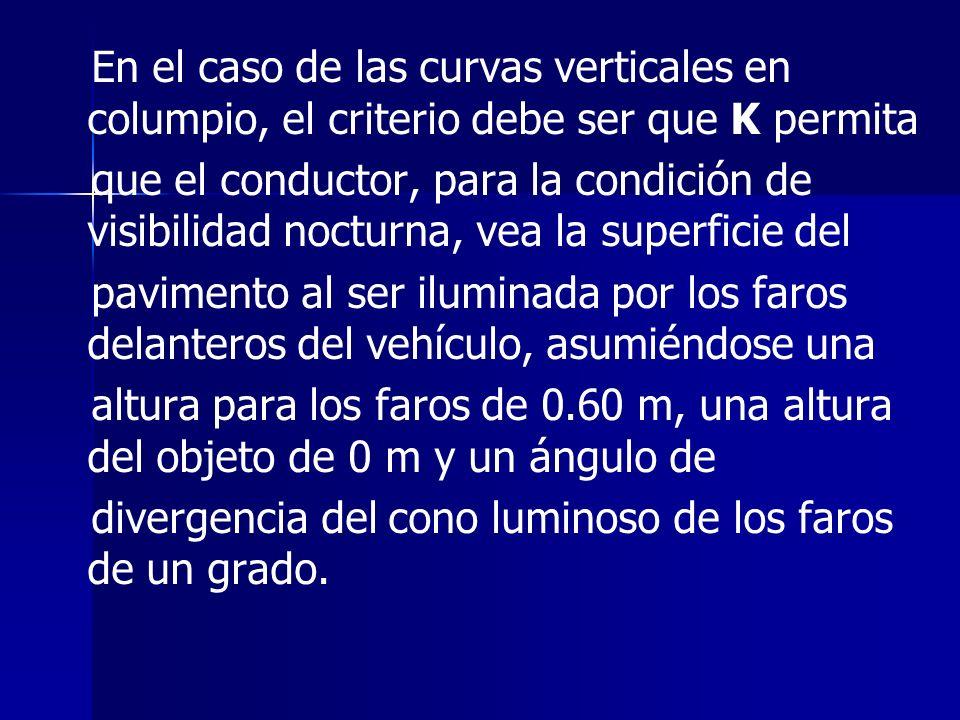 En el caso de las curvas verticales en columpio, el criterio debe ser que K permita que el conductor, para la condición de visibilidad nocturna, vea l