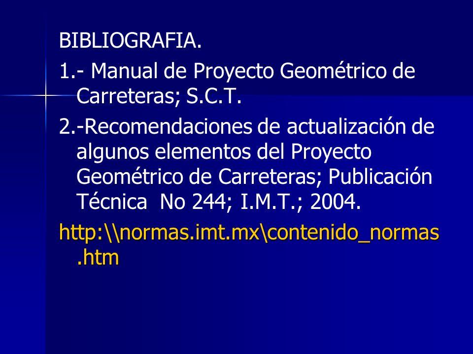 BIBLIOGRAFIA. 1.- Manual de Proyecto Geométrico de Carreteras; S.C.T. 2.-Recomendaciones de actualización de algunos elementos del Proyecto Geométrico