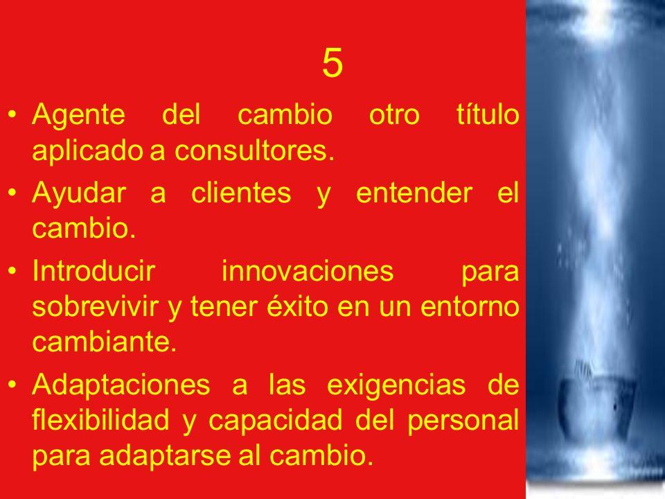 5 Agente del cambio otro título aplicado a consultores. Ayudar a clientes y entender el cambio. Introducir innovaciones para sobrevivir y tener éxito