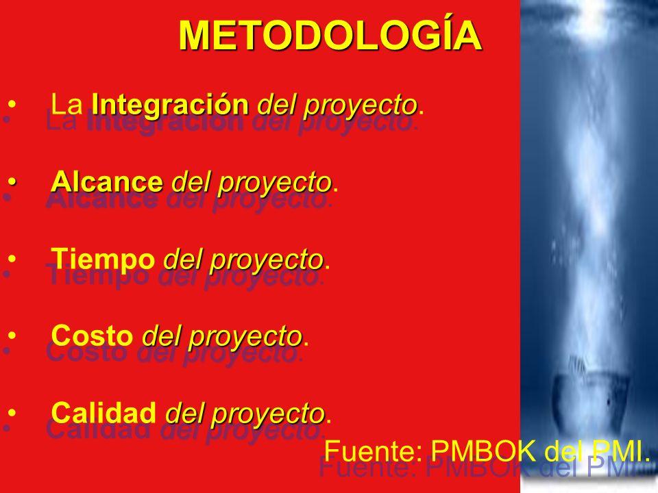 METODOLOGÍA Integracióndel proyectoLa Integración del proyecto. Alcancedel proyectoAlcance del proyecto. del proyectoTiempo del proyecto. del proyecto