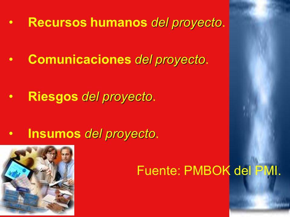 del proyectoRecursos humanos del proyecto. del proyectoComunicaciones del proyecto. del proyectoRiesgos del proyecto. del proyectoInsumos del proyecto