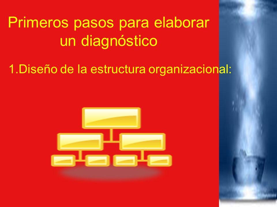 Primeros pasos para elaborar un diagnóstico 1.Diseño de la estructura organizacional: