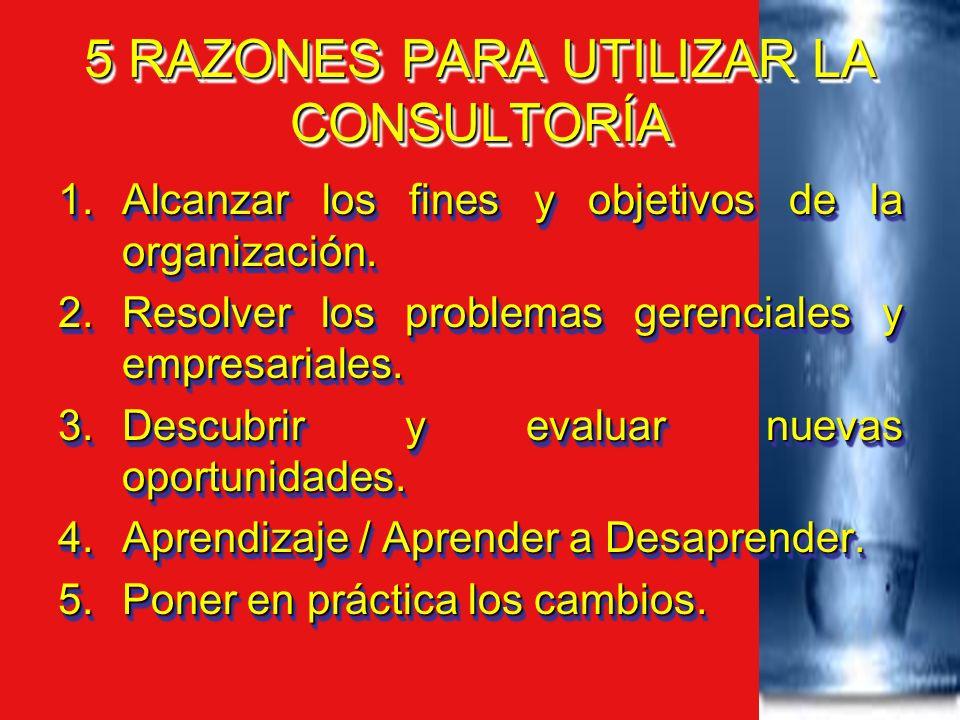 5 RAZONES PARA UTILIZAR LA CONSULTORÍA 1.Alcanzar los fines y objetivos de la organización. 2.Resolver los problemas gerenciales y empresariales. 3.De