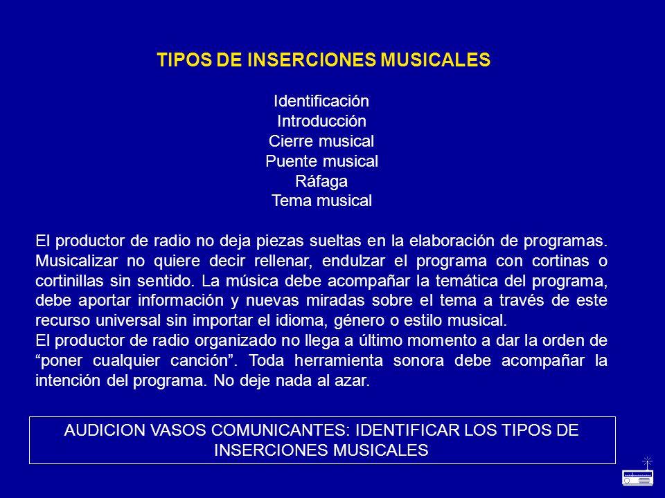 Identificación Introducción Cierre musical Puente musical Ráfaga Tema musical El productor de radio no deja piezas sueltas en la elaboración de progra