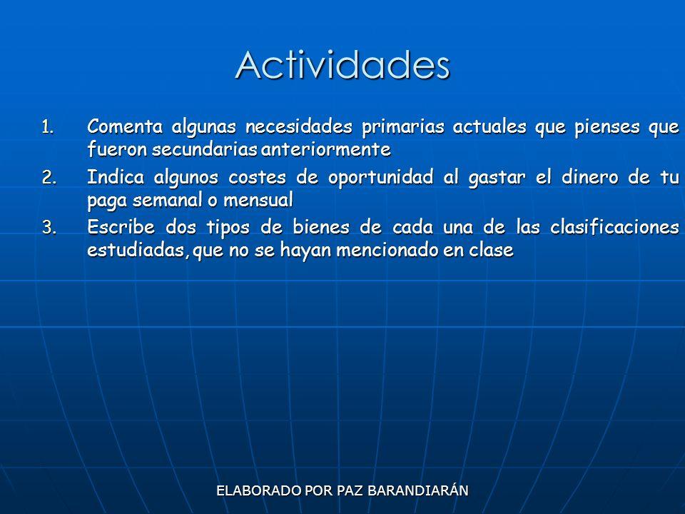 ELABORADO POR PAZ BARANDIARÁN Actividades 1. Comenta algunas necesidades primarias actuales que pienses que fueron secundarias anteriormente 2. Indica