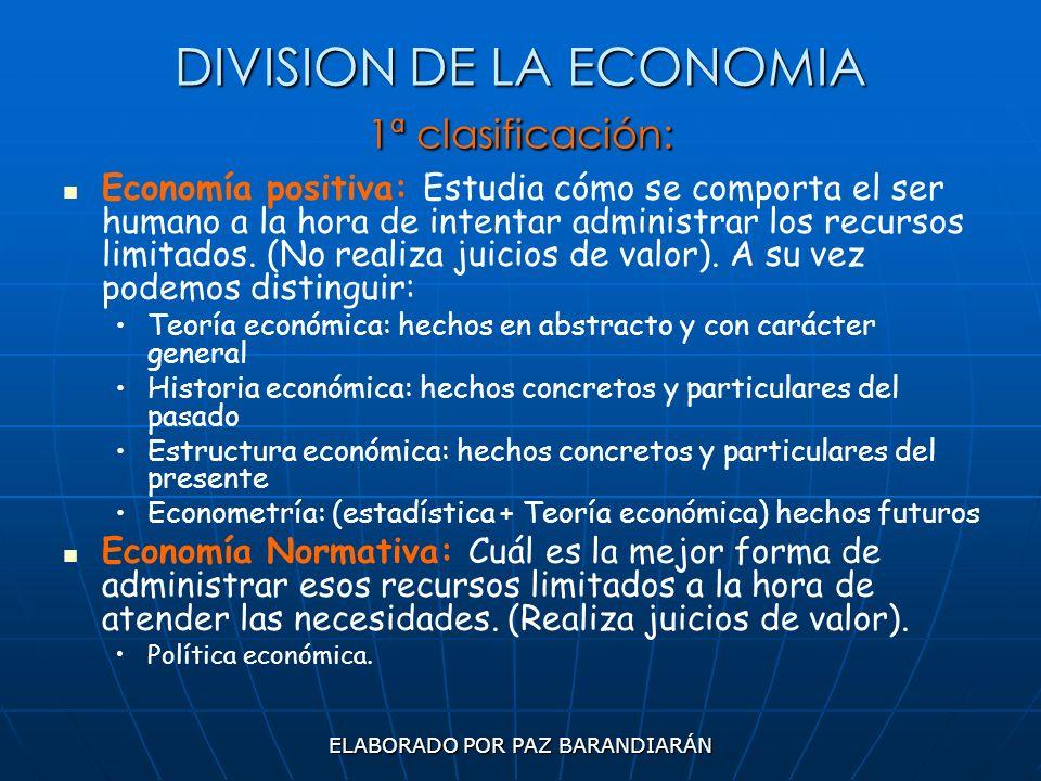 ELABORADO POR PAZ BARANDIARÁN DIVISION DE LA ECONOMIA 1ª clasificación: Economía positiva: Estudia cómo se comporta el ser humano a la hora de intenta