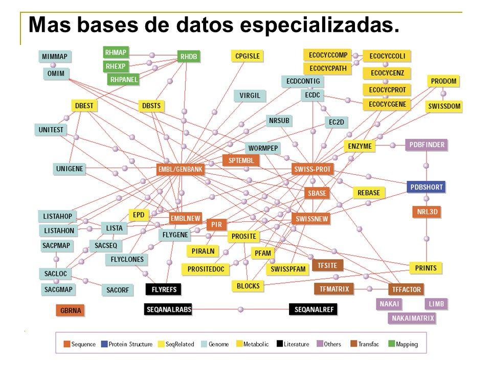 Mas bases de datos especializadas.