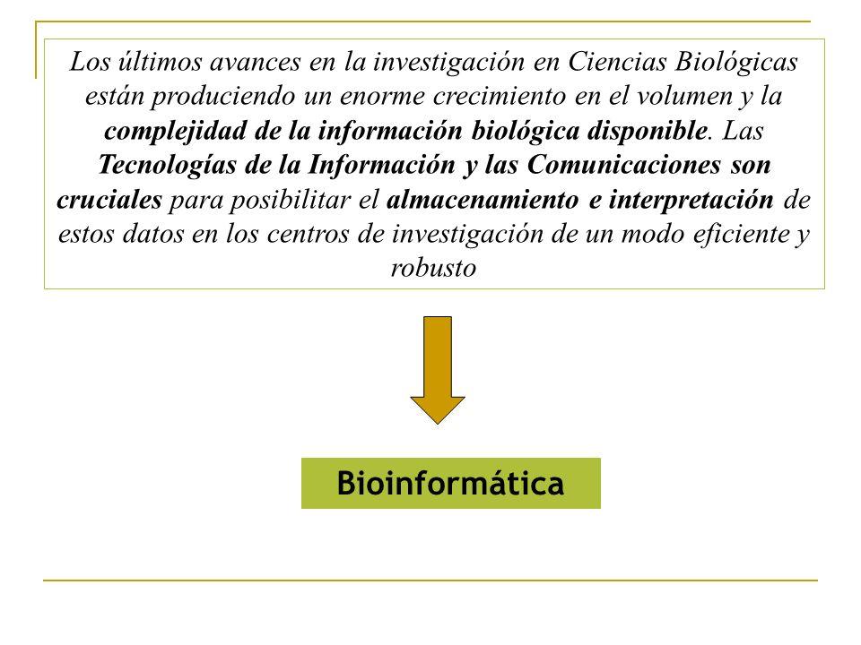 Los últimos avances en la investigación en Ciencias Biológicas están produciendo un enorme crecimiento en el volumen y la complejidad de la información biológica disponible.