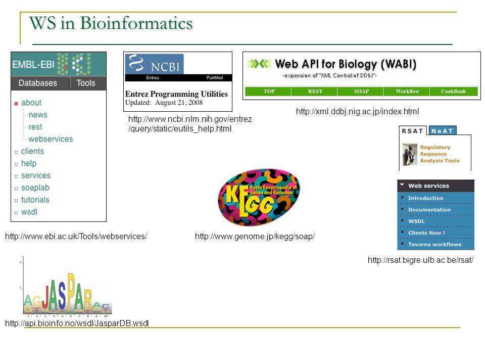 WS in Bioinformatics http://www.ebi.ac.uk/Tools/webservices/ http://www.ncbi.nlm.nih.gov/entrez /query/static/eutils_help.html http://xml.ddbj.nig.ac.jp/index.html http://rsat.bigre.ulb.ac.be/rsat/ http://www.genome.jp/kegg/soap/ http://api.bioinfo.no/wsdl/JasparDB.wsdl