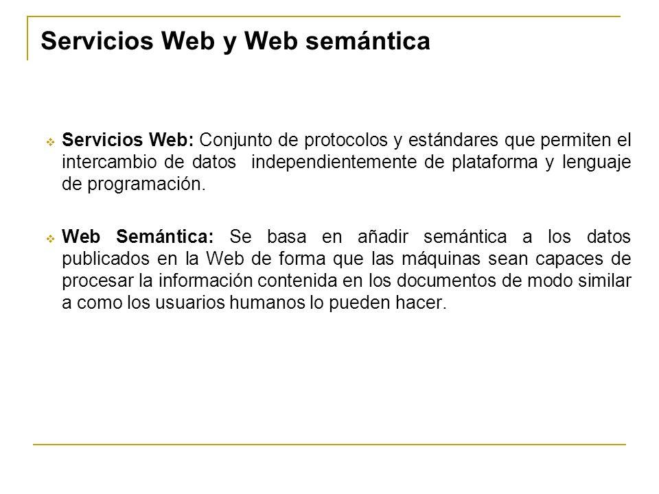Servicios Web y Web semántica Servicios Web: Conjunto de protocolos y estándares que permiten el intercambio de datos independientemente de plataforma