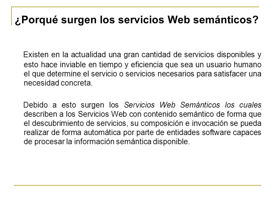 ¿Porqué surgen los servicios Web semánticos? Existen en la actualidad una gran cantidad de servicios disponibles y esto hace inviable en tiempo y efic