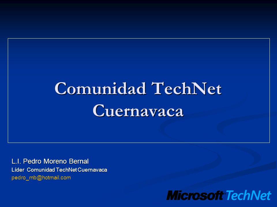 Microsoft TechNet Microsoft México, a través de la iniciativa TechNet ofrece, un portafolio de actividades y entrenamientos, presenciales y en línea, enfocados a ayudar a los profesionales de la tecnología de las áreas de TI, el cual ayuda a complementar las habilidades técnicas necesarias para la implementación, administración, mantenimiento y soporte técnico de la infraestructura Microsoft.