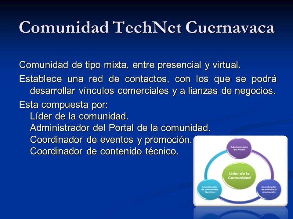 Comunidad TechNet Cuernavaca Comunidad de tipo mixta, entre presencial y virtual.