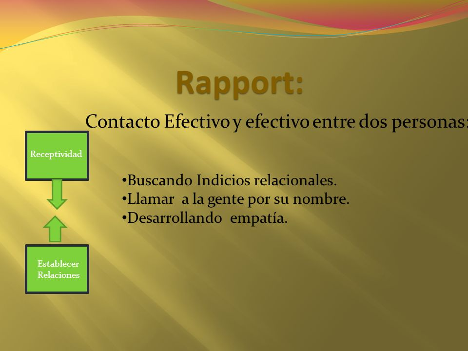 Rapport: Buscando Indicios relacionales. Llamar a la gente por su nombre. Desarrollando empatía. Receptividad Establecer Relaciones