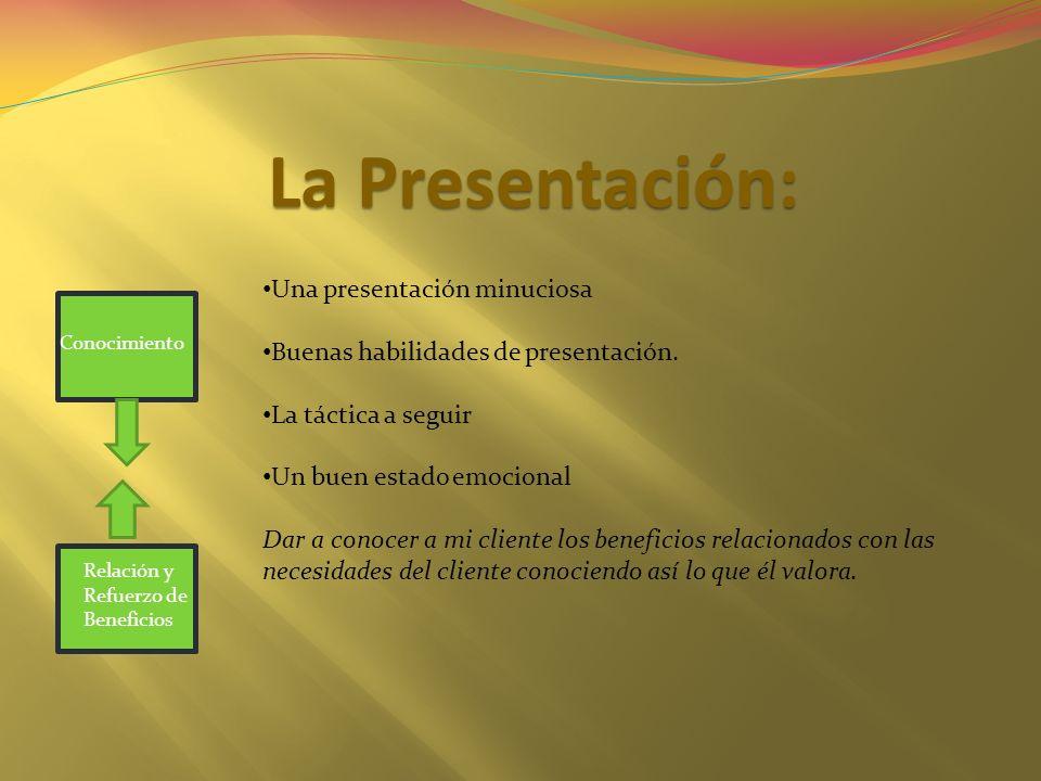 La Presentación: Una presentación minuciosa Buenas habilidades de presentación. La táctica a seguir Un buen estado emocional Dar a conocer a mi client