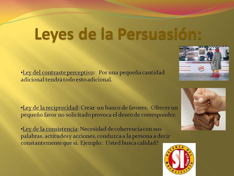 Leyes de la Persuasión: Ley del contraste perceptivo: Por una pequeña cantidad adicional tendrá todo esto adicional. Ley de la reciprocidad: Crear un